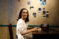 Anne Frank Wax Sculpture in Museum Stock Photos