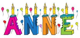 Anne nome fêmea 3d colorido mordido que rotula o bolo de aniversário com velas e balões ilustração stock