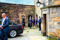 Anne, Princess Royal in Edinburg. Anne, Princess Royal leaving the tearooms in Edinburgh Castle. July 2016 Royalty Free Stock Photo