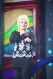 Anne Veski sings on scene during concert Stock Images