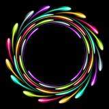 Anneau au néon rougeoyant brillant Fond abstrait avec un effet lumineux Photo libre de droits