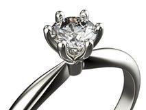Anneau avec le diamant Fond noir de bijou de tissu d'or et d'argent Photos libres de droits