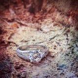 Anneau avec le diamant sur la terre Image stock