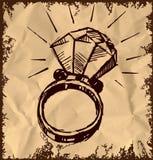Anneau avec un grand diamant de sparling Photo libre de droits