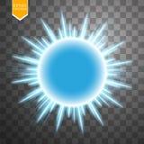 Anneau bleu abstrait d'énergie sur le fond transparent Sun illustration stock