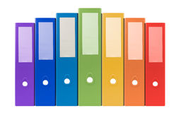 Anneau coloré reliure-plein avec le document et les affaires FNI de bureau images stock