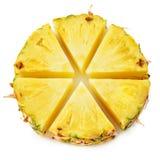Anneau d'ananas Morceaux de fruit d'isolement sur le blanc photographie stock