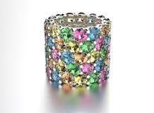 Anneau d'or avec le diamant différent de couleur Fond noir de bijou de tissu d'or et d'argent images stock