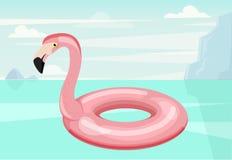 Anneau de bain Forme de flamant Illustration de vecteur Illustration de bande dessinée d'icône d'anneau de bain Flotteur de pisci Photographie stock