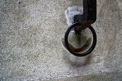 Anneau de lien de dresseur pour le cheval, anneau fleuri de lien de cheval de fer sur la façade du château médiéval, Torino, Ital images stock