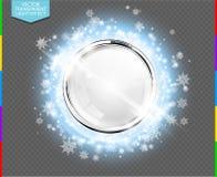 Anneau de luxe abstrait en métal de chrome avec la boule en verre blanche illustration de vecteur