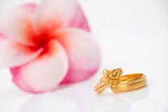 Anneau de mariage avec la fleur de Plumeria sur le bakcground blanc Image libre de droits