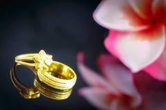 Anneau de mariage avec la fleur de Plumeria sur le bakcground blanc Photo libre de droits