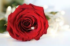 Anneau de mariage avec le diamant et les fleurs roses Photo libre de droits