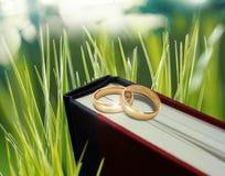 Anneau de mariage sur le livre Photos stock