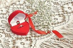 Anneau de noces d'argent avec le ruban Photos libres de droits