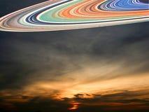 anneau de Saturne de tache floue et ciel de coucher du soleil Photo libre de droits