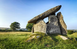 Anneau de Trevethy un dolmen portail dans les Cornouailles Images stock