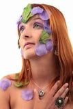 Anneau et collier extrêmes de vintage de fille de maquillage Image libre de droits