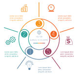 Anneau multicolore Infographic cinq positions Image libre de droits