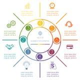 Anneau multicolore Infographic huit positions Images libres de droits