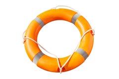 Anneau orange de bouée de sauvetage avec des lignes de vie photographie stock libre de droits