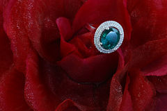 Anneau vert avec des diamants Images stock