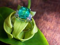 Anneau vert de gemme de plan rapproché avec l'usage blanc de diamant avec le pétale du yla Photos stock