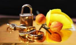 Anneaux, amour et heureux de mariage, orchidée Images stock