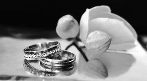 Anneaux, amour et heureux de mariage, orchidée Images libres de droits