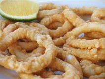 Anneaux croustillants de Calamari Photo stock