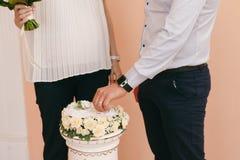 Anneaux d'échange de jeunes mariés dans le bureau d'enregistrement photos stock