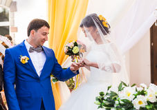 Anneaux d'échange de nouveaux mariés Images libres de droits