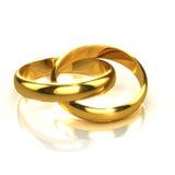anneaux d'or 3d deux liés Image stock