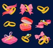 Anneaux d'or de mariage et de fiançailles réglés Objets d'isolement avec les rubans roses, la boîte en forme de coeur, l'oreiller illustration libre de droits