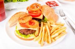 Anneaux d'hamburger et d'oignon de boeuf Photos stock