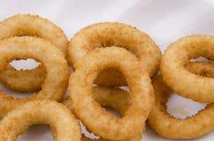 anneaux d'oignon frits dans le plat blanc sur le fond blanc Photographie stock libre de droits