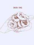 Anneaux d'oignon sur l'enveloppe de papier dans le panier, fortement détail tiré par la main IL Photos stock