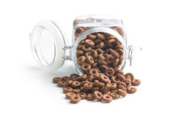 Anneaux de céréale de chocolat Images stock
