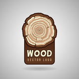 Anneaux de croissance annuels d'arbre, calibre en coupe de logo de vecteur de hippie de tronc illustration libre de droits