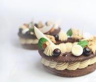 Anneaux de dessert de Paris Brest avec la pomme et les baies sur le fond blanc image stock