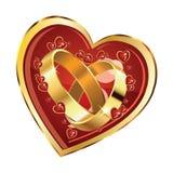 Anneaux de mariage au coeur illustration de vecteur