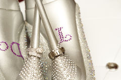 Anneaux de mariage avec des chaussures de mariage Images libres de droits