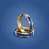Anneaux de mariage bleus inscripted images stock