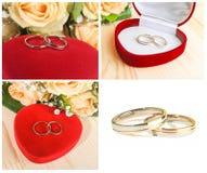 anneaux de mariage, boîte en forme de coeur et fleurs Photographie stock libre de droits
