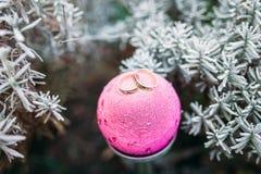 Anneaux de mariage, boule rose de Noël, arbre de Noël dans la neige, pour faire de la publicité, insertion des textes Photographie stock