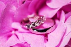 Anneaux de mariage d'or avec des diamants sur la fleur rose tendre Image stock