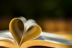 Anneaux de mariage d'or, livre de coeur, tache floue de fond Image stock