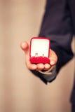 Anneaux de mariage dans des mains au marié Photographie stock