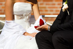 Anneaux de mariage dans des mains de marié et de jeune mariée Photos libres de droits
